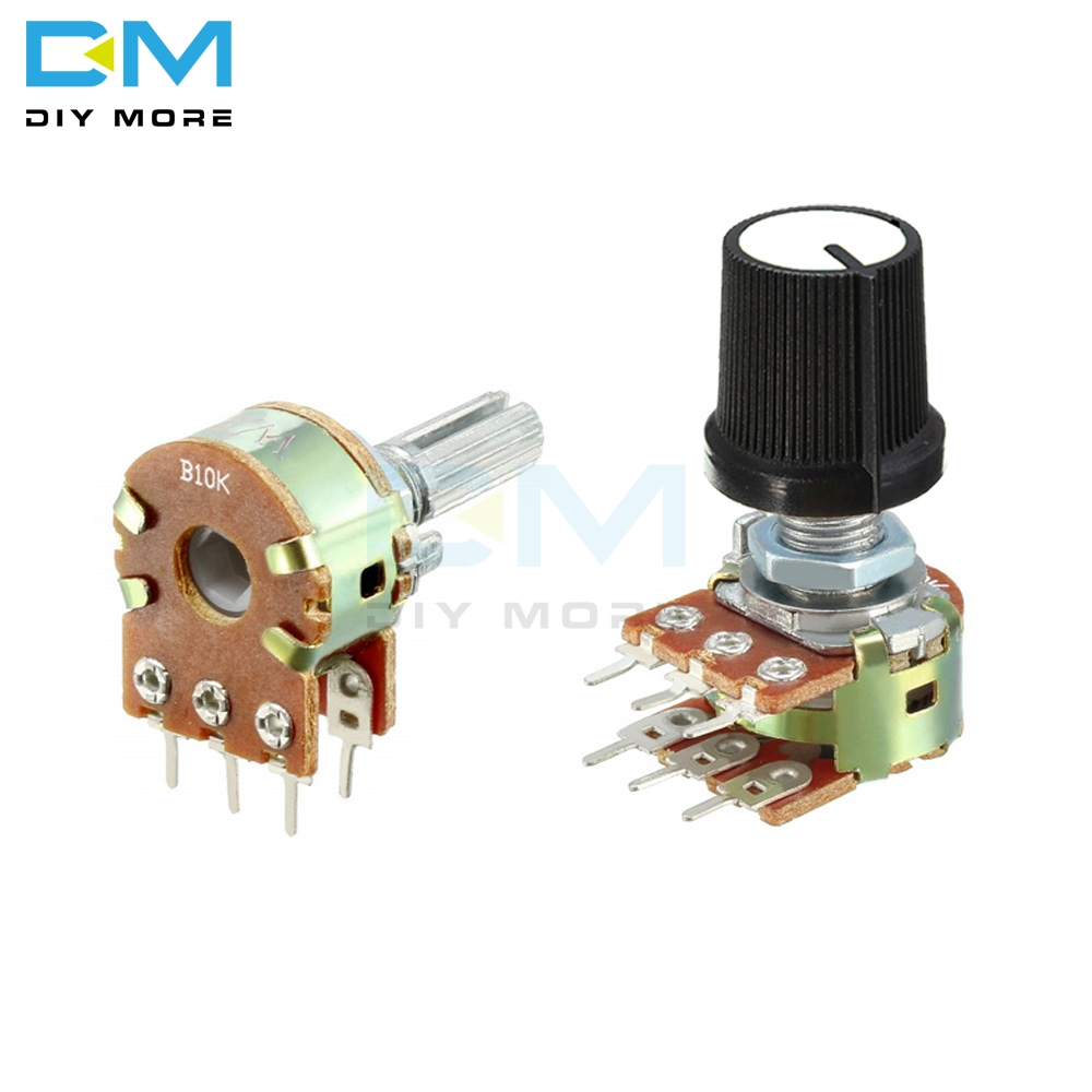 5PCS Lot B1K B2K B5K B10K B20K B50K B100K B250K B500K 1M Potentiometer Resistor Linear Taper Rotary Potentiometer Caps Knob Ohm
