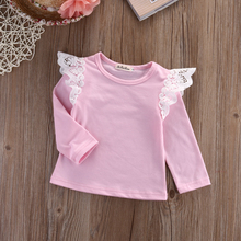 Детская одежда для малышей Одежда для маленьких девочек кружевные хлопковые футболки с длинными рукавами для девочек Повседневная Блузка Топы, одежда для детей