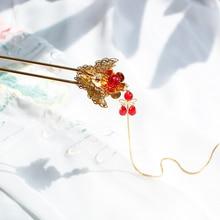 Китайский стиль, винтажная Золотая Бабочка, кисточка ручной работы, заколка для волос, аксессуары для волос, головные уборы для кимоно, косплей