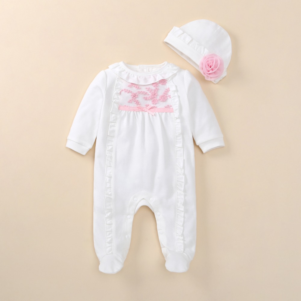 new born baby girl clothes   romper   autumn long sleeve cotton lace baby girl   romper   with hat white mameluco infantil jumpsuit baby
