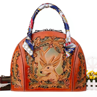 fashion handbags 2017 new cow genuine leather woman Top handle bags with Hand carved pattern Top quality ladies gift shell bag
