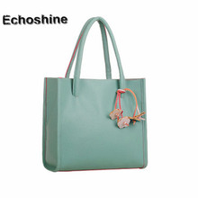 2016 hot sale Fashion Elegant girls handbags leather shoulder bag candy color flowers Women tote gift