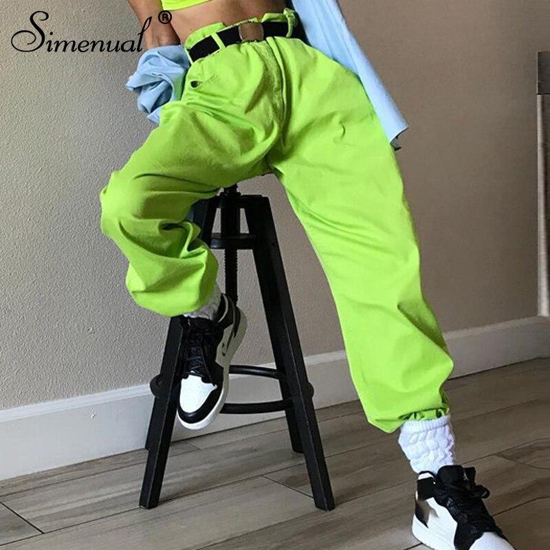 Simenual Pockets Neon Green Cargo Pants Women High Waist Streetwear Trousers High Waist Oversize 2019 Spring Sweatpants Fashion