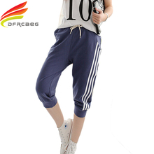 2XL Лето 2017 Женщины Повседневная Спортивный Костюм Брюки Случайные Свободные Шаровары Pantalon Femme Хлопок Семь Короткие Капри Брюки(China (Mainland))
