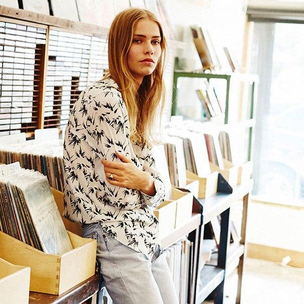 2 colors EQ ladies 100 real silk bamboo leaf print long sleeve long font b blouse
