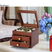 Solid Wood Jewelry Box European Jewelry Box Jewelry Box Necklace Earring Ring Storage Box Wooden Chinese Retro Simple