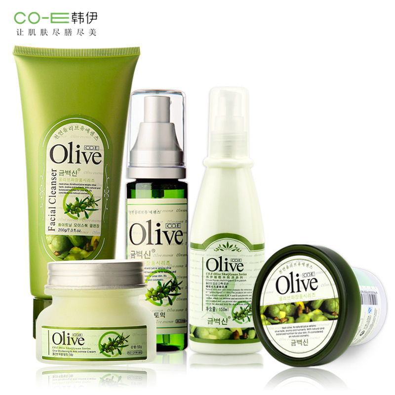 Brand 5Pcs Face Skin Beauty Care Set Kit Olive Oil Mask+Cleanser+Facial Cream+Toner+Lotion Whitening Moisturizing Shrink Pores skin care laikou collagen emulsion whitening oil control shrink pores moisturizing anti wrinkle beauty face care lotion cream