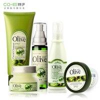 Marka 5 sztuk zestaw do pielęgnacji skóry twarzy piękno zestaw olive oil maska + mycia + krem do twarzy + toner + zmniejszyć pory balsam nawilżający wybielania