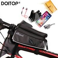 Doitop 7.0 polegada à prova dwaterproof água bicicleta titular do telefone móvel suporte da motocicleta guiador montar saco para iphone x samsung lg huawei|Suporte p/ celulares| |  -