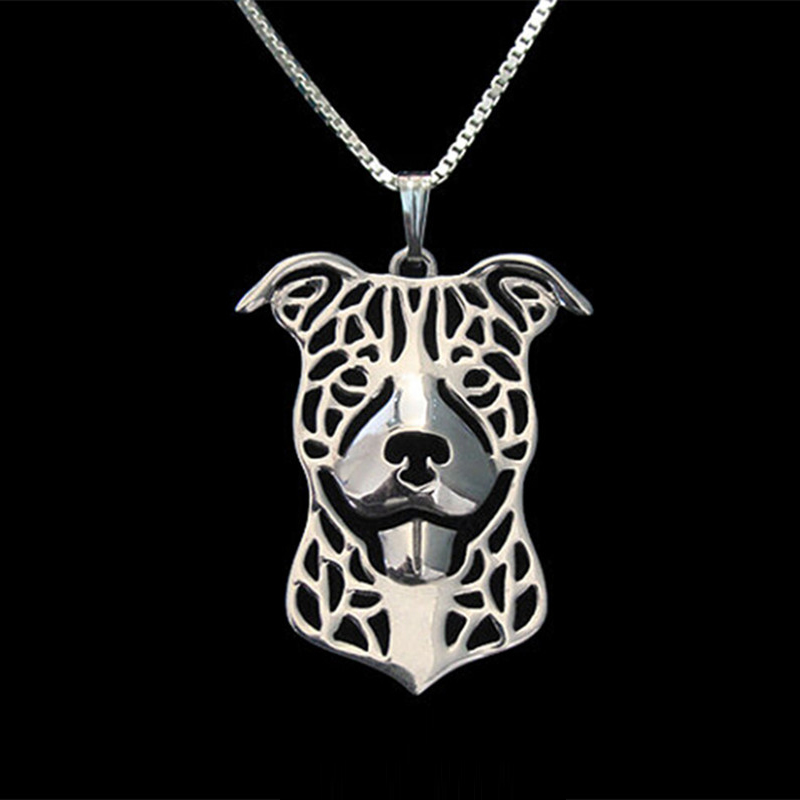 American Pit Bull Terrier Necklaces Pendants For Men Women Girls Silver Gold Color Long Chain Dog