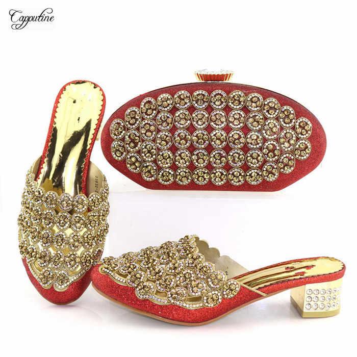 Menakjubkan Merah Pernikahan/Pesta Wanita Pompa Sepatu dan Malam Tas Set dengan Berlian Imitasi 33832-2, tinggi Hak 5 Cm
