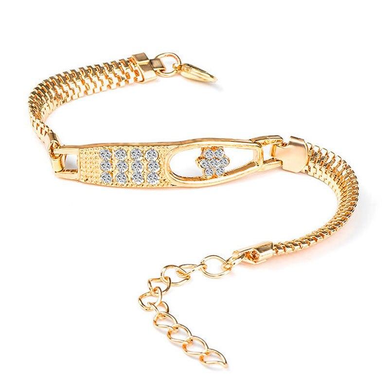QCOOLJLY Female Jewellry Accessories Multi-Designs Gold Color Alloy Crystal & Rhinestone Flash Cuff Chain wrap bracelet Bangle 2