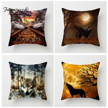 Fuwatacchi Fantasy Wolf Cushion Cover with Wings Throw Pillow Covers Wild Howl at Moon Pillowcases For Sofa Decor