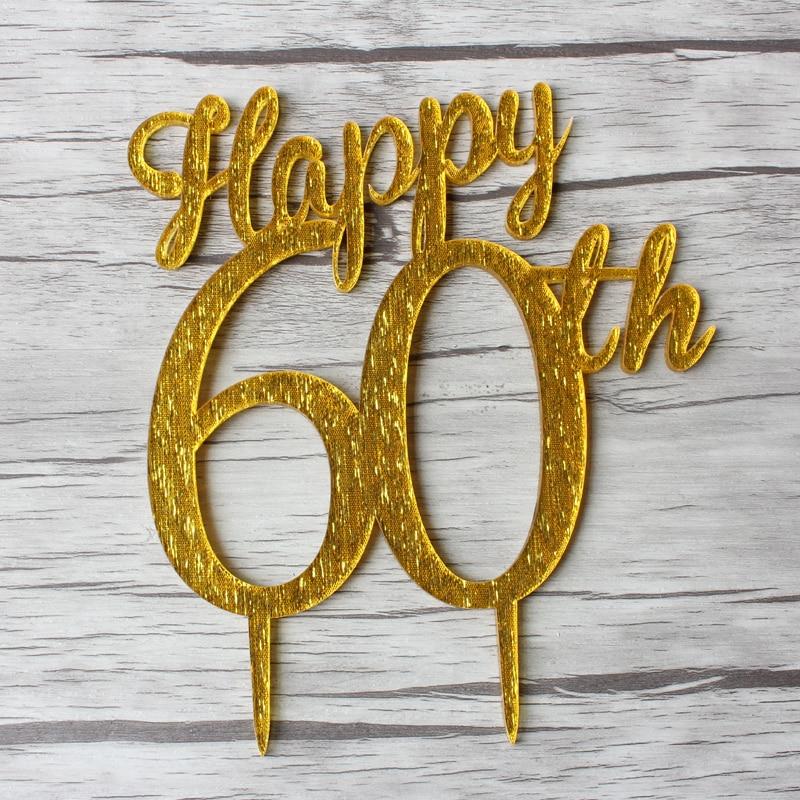 60th Happy Birthday Cake Topper, 60th Years Anniversary ...