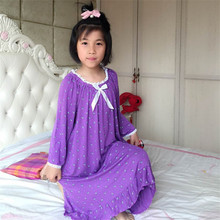Nightgowns for childr Girls Modal pajamas summer Robe Long Nightdress kids 's lounge Nightwear