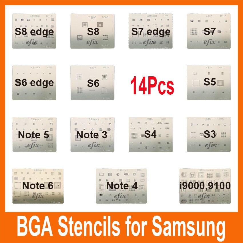 14 шт., трафареты с чипом интегральной схемы для Samsung S8 S8 edge S4 S5 S6 S7 Edge I9100 I9000