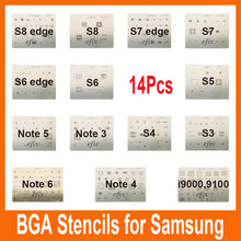 Alta qualidade 14 pces ic chip bga reballing estêncil kits definir modelo de solda para samsung s8 s8 borda s4 s5 s6 s7 borda i9100 i9000