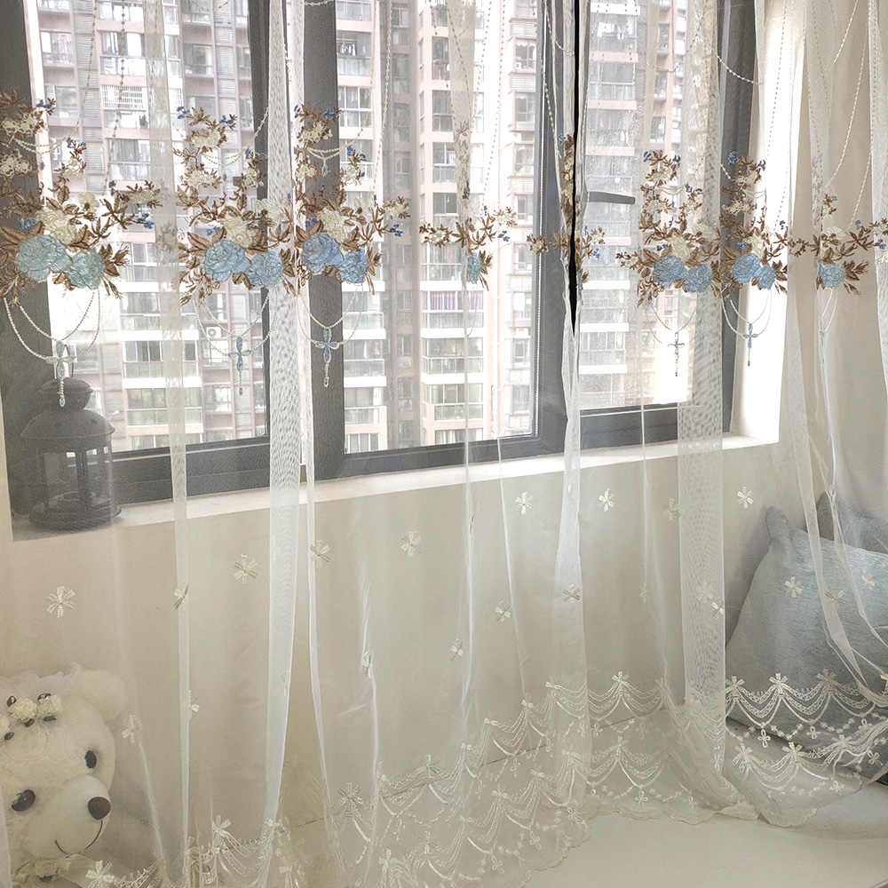 Romantic Pink Floral Embroidered Sheer Curtains Living Room Blue Flower Pattern Curtain Tulle Window Voile Drapes Bedroom M0634