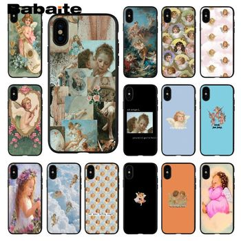 Babaite Renaissance angels baby Soft Silicone black Phone Case for Apple iPhone 8 7 6 6S Plus X XS MAX 5 5S SE XR Cellphones image