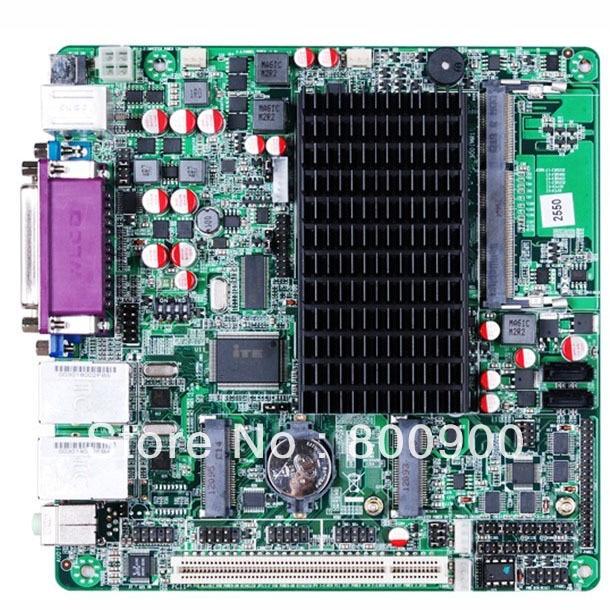 MITX motherboard with Intel Atom D2550 dual core processor NM10 Express chipset 6 COM ports VGA LVDS dual display 2*RTL8111E
