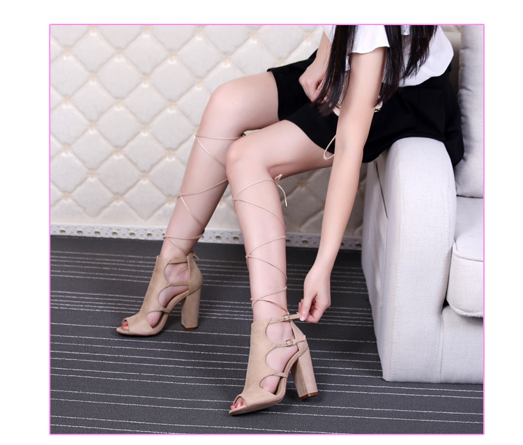 2017 Women Sandals Gladiator Genuine Leather High Heels Summer Fashion Pop Toe Shoes Woman Pulse Size 42 4
