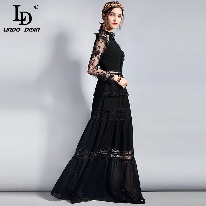 Ld linda della 패션 디자이너 긴 파티 드레스 여성 긴 소매 빈티지 레이스 중공 패치 워크 맥시 블랙 드레스-에서드레스부터 여성 의류 의  그룹 2