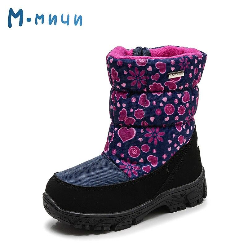 MMNUN Flower and Heart Print Children's Winter Boots Girls Warm Girls Winter Snow Boots Waterproof Toddler Girl Shoes Size 27-32