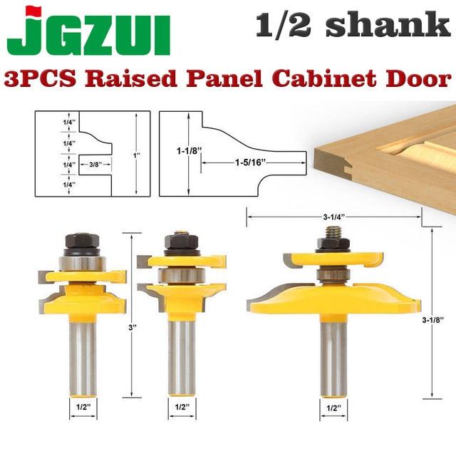 "3 Bit Raised Panel Cabinet Door Router Bit Set  Bevel 1/2"" Shank 12mm shankWoodworking cutter Tenon Cutter for Woodworking Tools"