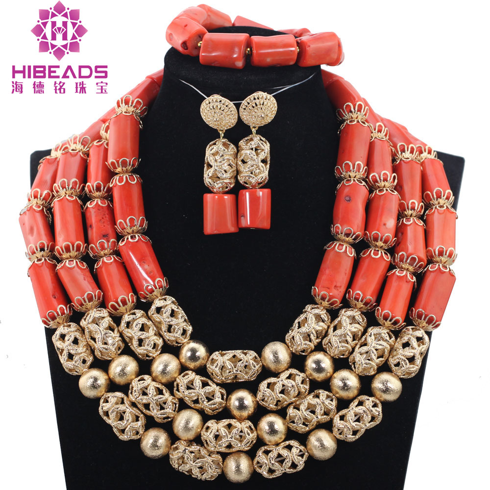 Real Coral Gold Accessory Dubai Party Engagement Fashion 4 Layers Coral Beads Necklace Jewelry Jewelry Set Free Shipping ABH418Real Coral Gold Accessory Dubai Party Engagement Fashion 4 Layers Coral Beads Necklace Jewelry Jewelry Set Free Shipping ABH418