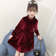 Girls dress 2019 spring and autumn new fashion solid color gold velvet dress long-sleeved children's clothing