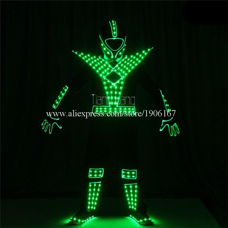Programmable Men led robot costumes dance costumes robot suit full color led light dj clothes luminous stage wears disco2