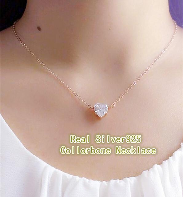 18 Rose/Corazón Collar de Oro Real Pura Plata Esterlina 925 collar pendiente con CZ diamond Joyería Moda Mujer