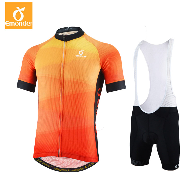 EMONDER Top Quality Mens Cycling Jersey Sets Pro Team MTB Bike Clothing Mesh Breathable Italy Fabric Bicycle Wear Orange