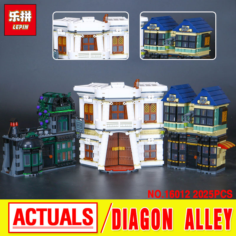 Lepin 16012 Hot-sale New Movie Series The Diagon Alley Set Funny Building Blocks Bricks Educational Boy`s Funny Toys 10217 doinbby store  16012 2075pcs movie