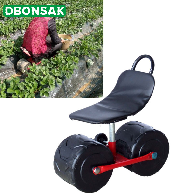 Stool Garden-Cart-Tool Moving-Chair Pu-Sponge-Seat With Wheels Pad Planting Picking Comfortable