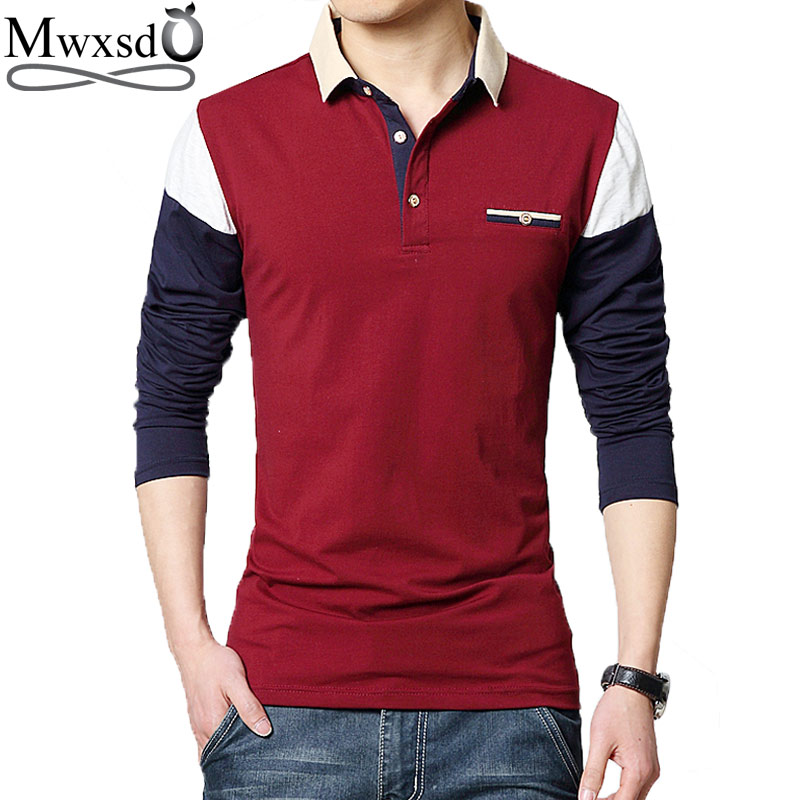 Mwxsd Spring Mens Casual Long Sleeve Polo Shirts Men Patchwork Slim Fit Polos Slim Fit Contrast Color Shirt