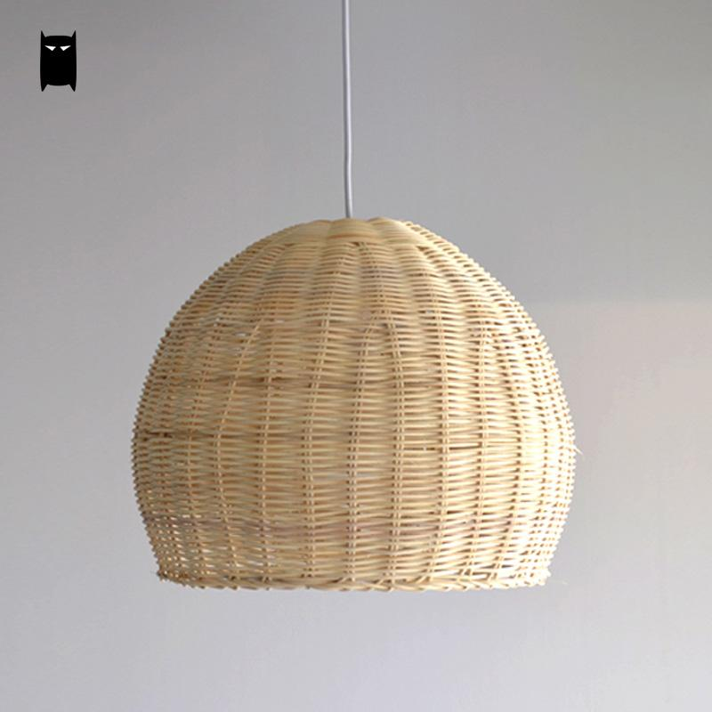 Us 118 0 Hand Woven Wicker Rattan Round Basket Shade Pendant Light Fixture Cord Asian Anese Hanging Lamp For Home Dining Table Room In
