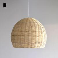 Hand woven Wicker Rattan Round Basket Shade Pendant Light Fixture Cord Asian Japanese Hanging Lamp for Home Dining Table Room