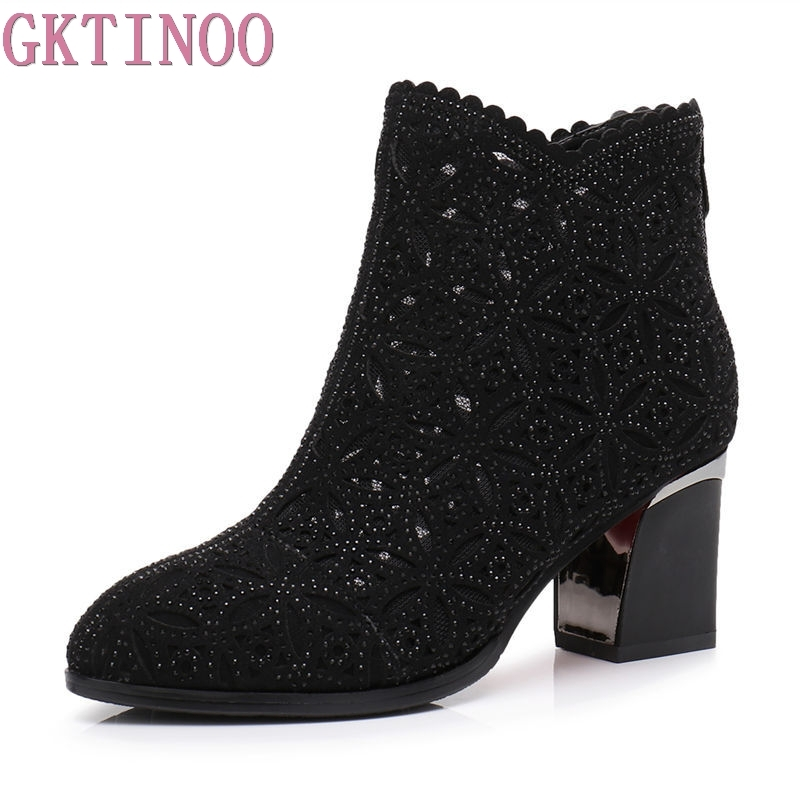 GKTINOO 2018 Spring Autumn Women Ankle Boots Crystal High Heels Boots Pointed Toe Thick Heel Short Boots Women's Shoes Big Size все цены