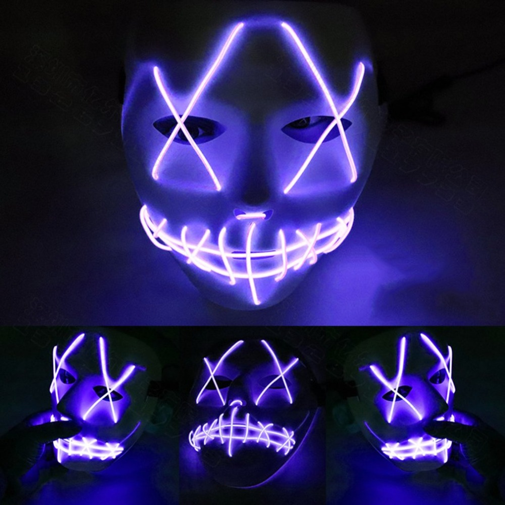Halloween Mask Led Masks Glow Scary Mask Light Up Cosplay Mask Glow In Dark For Festival Music Party Costume Christmas Fancy Colours Costumes & Accessories