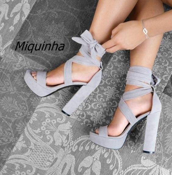 fc33599a9c3 Trendy Strappy Block Heel Platform Sandals Women Classy Open Toe Ankle Lace  Up Heels Comfy Wear