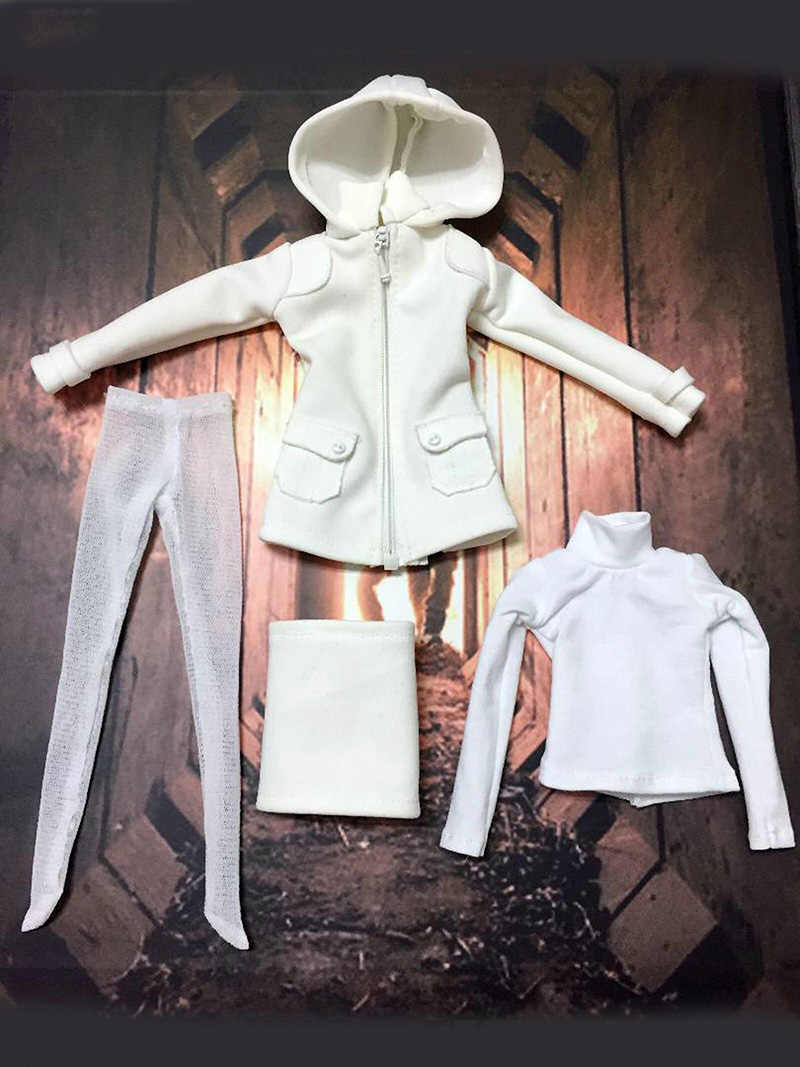 HT 1//6 Scale Pepper Clothes Set White Sleeve Shirt Black Leggings F Female Body
