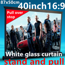 40 inch 16:9 White glass curtain Pull Up standing projector Screen Portable Floor Stand Screen for dlp led hd mini projector