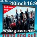 40 polegada 16:9 branco cortina puxar de tela de suporte portátil para dlp projetor hd mini projetor