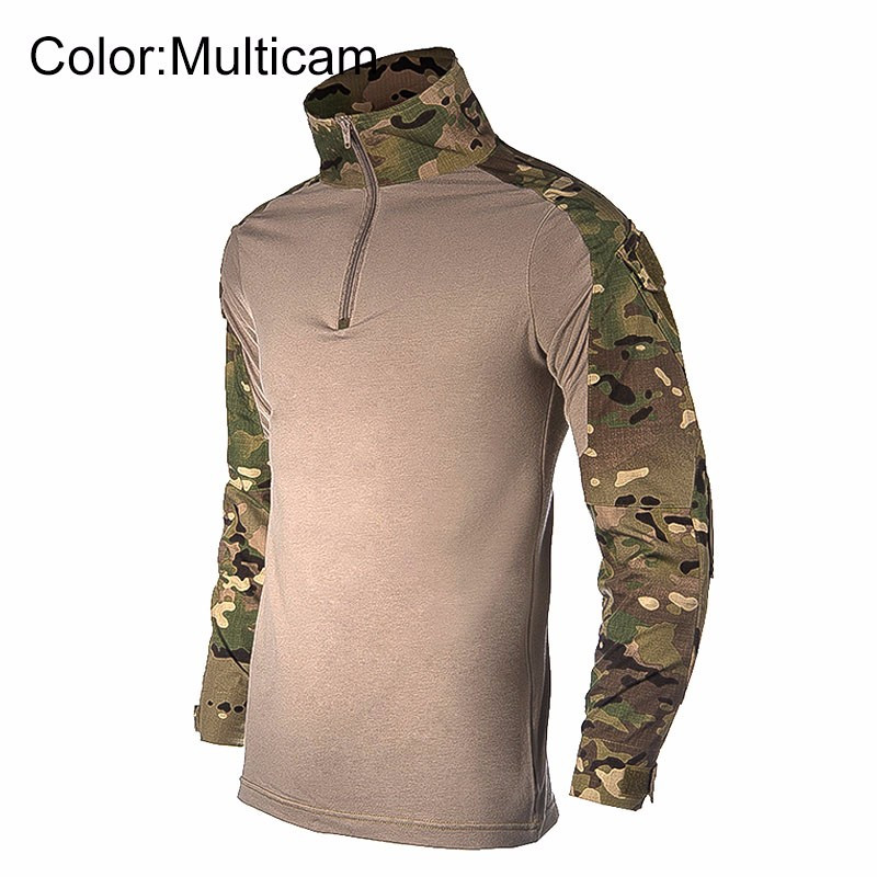 2019 Men Tactical Camouflage Clothes T Shirt Long Sleeve Military Army Swat Airsoft Paintball Combat Uniform Top Tees Pullover Men's Clothing