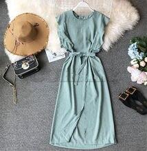 CUERLY Women 2019 Summer Striped Sleeveless Ruffles Straight One Step Long Dress Split Slim Casual Dresses Female