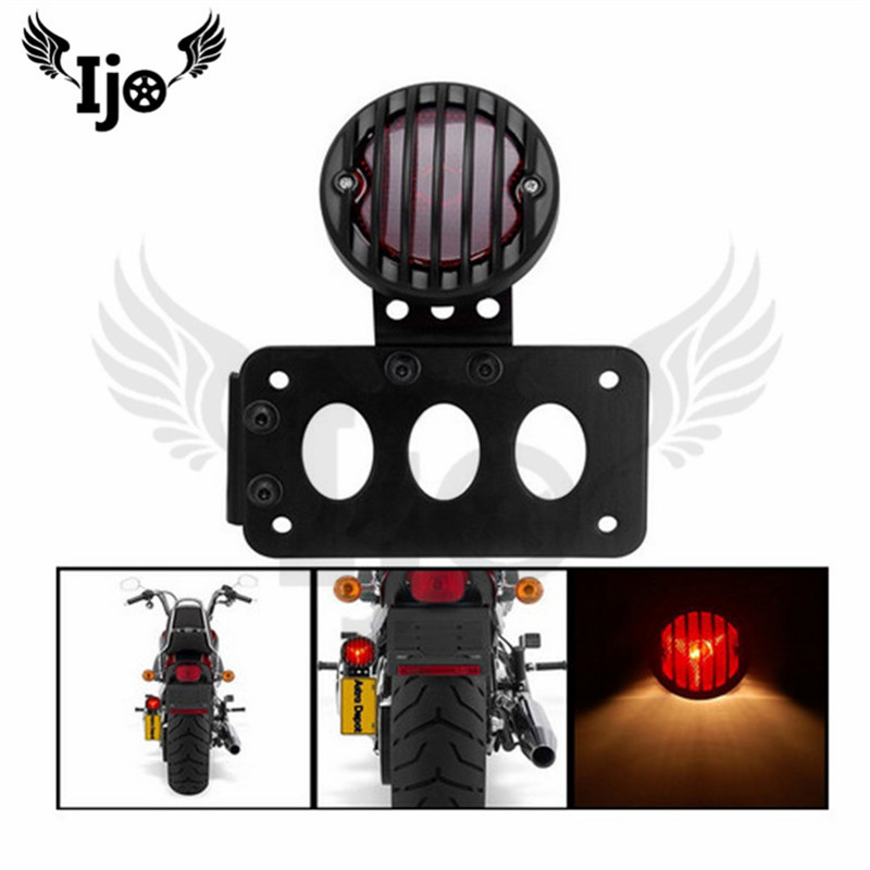 Feu arrière moto moto modifié cool noir en plastique feu arrière direction latérale voiture licence modifié feu de frein