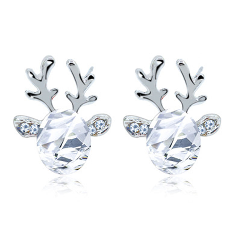 Antler Cubic Zirconia Stud Earring for Female 2019 Fashion Rhinestone Christmas Earrings for Women Statement Jewelry Gift WD281 in Stud Earrings from Jewelry Accessories