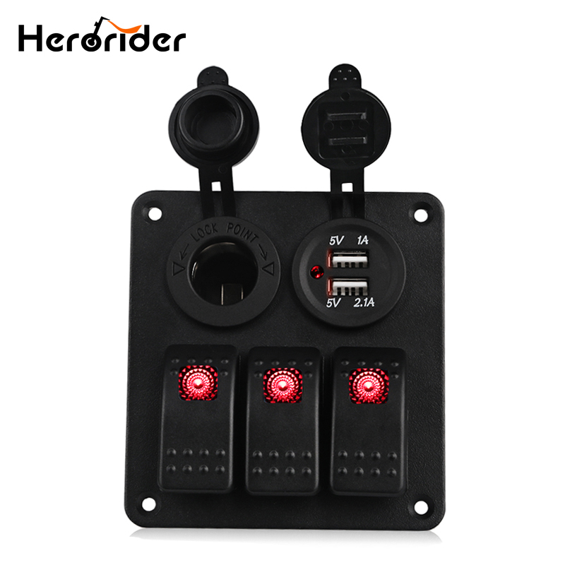 цена на Herorider Marine Boat Car Switch Panel 3 Gang with Cigarette Socket Dual USB Slot Blue LED light Marine Boat Rocker Switch Panel