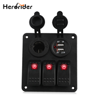 Herorider Marine Boat Car Switch Panel 3 Gang with Cigarette Socket Dual USB Slot Blue LED light Marine Boat Rocker Switch Panel